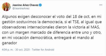 Jeanine Añez ratifica que entregará el mando al ganador de las elecciones