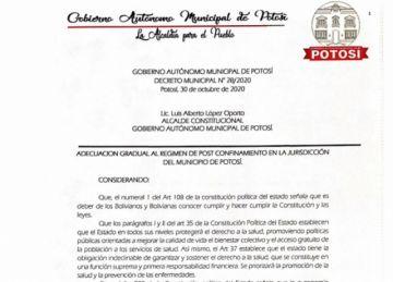 Vea qué es lo que cambia en noviembre con la nueva cuarentena dinámica en Potosí