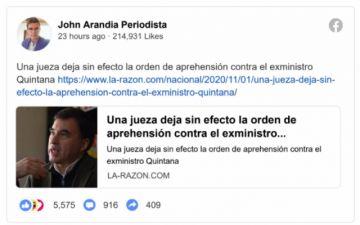 Decisión judicial sobre Quintana es el hecho más difundido en las redes sociales