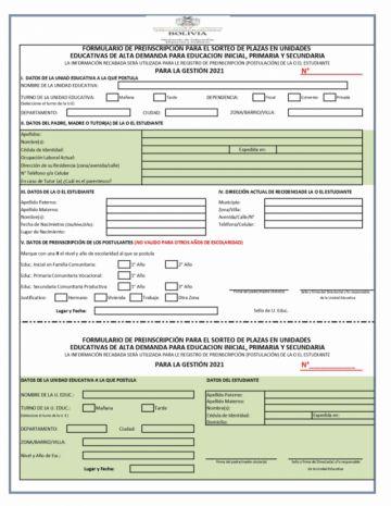 Este es el formulario de preinscripción para unidades educativas de alta demanda en Potosí