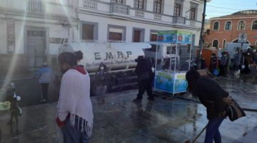 EMAP acción de limpieza en coordinación con comerciantes