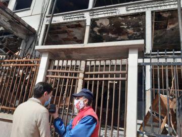 Presidente del TSE visita edificio quemado del TED Potosí