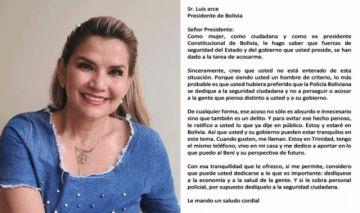 "En carta a Arce, Añez denuncia acoso ""absurdo"" de parte de fuerzas de seguridad"