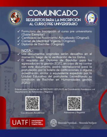 La UATF amplía hasta el 30 de diciembre plazo para inscripción a los preuniversitarios