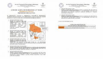 Seemite alerta naranja por intensas lluvias en siete Departamentos
