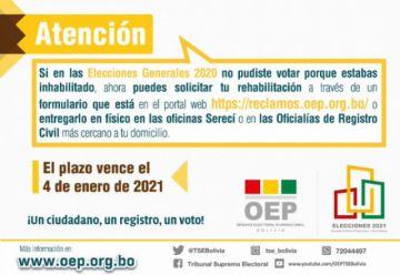 Personas que fueron inhabilitadas en las Elecciones Generales pueden registrarse hasta el 4 de enero, según el TSE