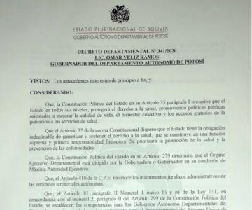 Lea el Decreto Departamental de emergencia ante el rebrote del coronavirus