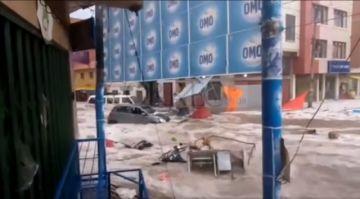 Vea cómo la tormenta de granizo afectó a la zona del Mercado Campesino en Sucre