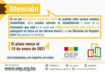 Órgano Electoral atenderá hasta el viernes los reclamos de personas inhabilitadas para sufragar