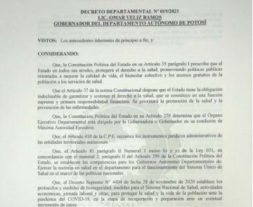 Lea el decreto departamental vigente tras la reunión del COED en Potosí