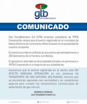Informan que gasoducto afectado por explosión es privado no afectó exportación de gas a Brasil