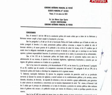 Lea el detalle de las restricciones vigentes en febrero para el municipio de Potosí