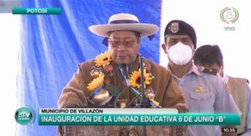 Presidente Luis Arce entrega dos unidades educativas en Villazón
