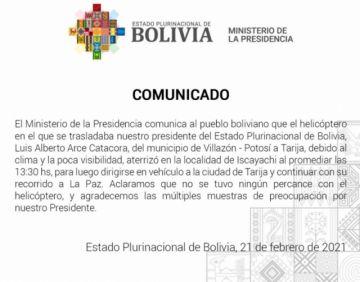 Helicóptero presidencial tuvo un aterrizaje no programado tras salir de Villazón