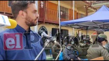Ministro de Gobierno entrega insumos de bioseguridad a la Policía en Potosí