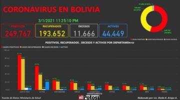 Vea el mapa de los casos de #coronavirus en #Bolivia hasta el 1 de marzo de 2021