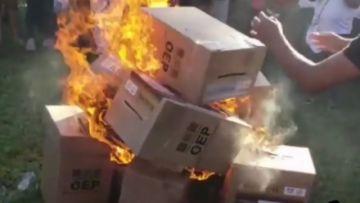 TED Santa Cruz alista denuncia por delitos electorales tras quema de ánforas en Colpa Bélgica