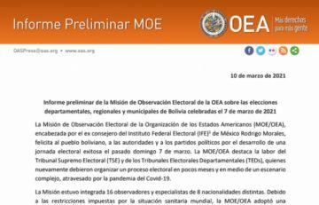 Misión de la OEA felicita al pueblo boliviano por proceso electoral