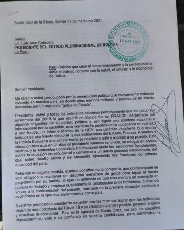 Luis Fernando Camacho le pide a Luis Arce que cese la persecución