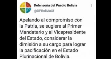 Defensoría eliminó publicaciones en que sugería la renuncia de Evo en 2019
