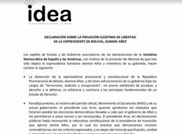 Exjefes de Estado califican de arbitraria detención de Áñez y exministros