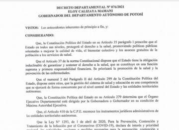 Vea el Decreto Departamental vigente para abril con las medidas para Potosí