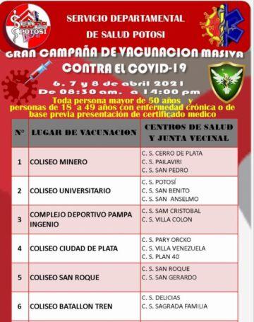 Comienza la vacunación masiva contra el coronavirus en Potosí