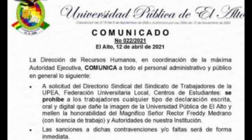 """Prohíben a trabajadores de la UPEA a declarar mellando la honorabilidad del """"Magnífico Rector"""""""