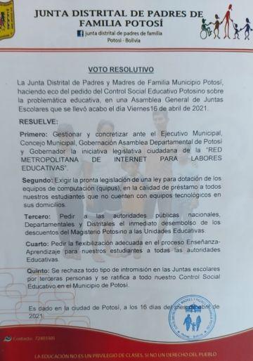 Juntas escolares en Potosí demandan mejoras para la educación a distancia