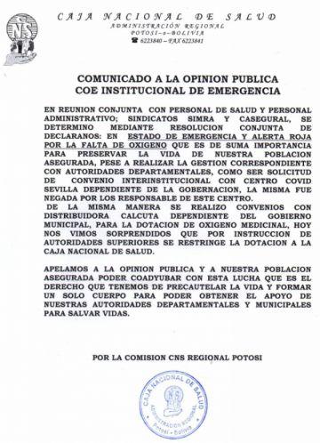 ALERTA ROJA: La CNS Potosí declara estado de alerta ante la falta de oxígeno para pacientes