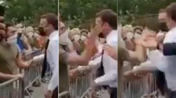 Hombre abofetea al presidente Macron en visita al sureste de Francia