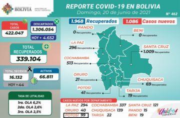 Bolivia supera los 422.000 casos de coronavirus con más de 1.000 contagios nuevos
