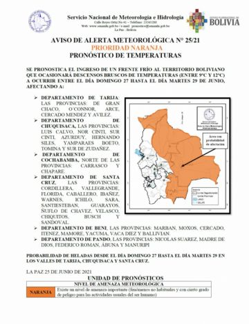 Senamhi pronostica descenso de temperaturas en seis departamentos