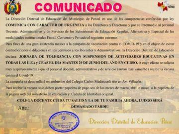 Hoy no hay actividades escolares en todas las escuelas del municipio de Potosí