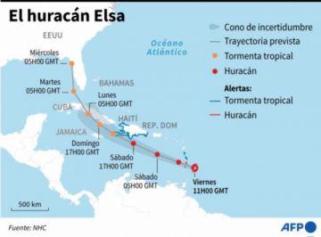 El huracán Elsa pierde fuerza pero sigue amenazando al Caribe