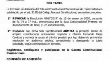 TCP dispone que la Sala Constitucional de Beni admita un amparo que busca anular designación de vocales del TED