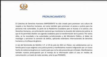 Colectivo de DDHH demanda diligencia para investigar feminicidio