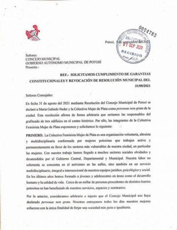 Colectiva Mujer de Plata pide al Concejo revocar resolución