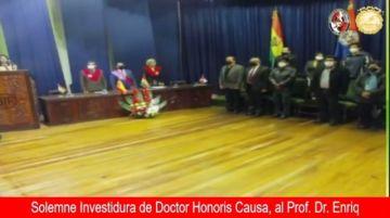 UATF desarrolla acto de declaratoria de doctor Honoris Causa