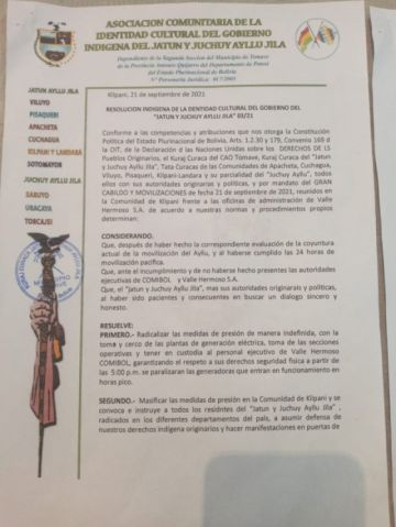Reportan que dirigentes de Ayllus toman rehenes a funcionarios de la empresa eléctrica