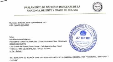 Marcha indígena convoca a Arce y Choquehuanca a reunirse el 30 de septiembre