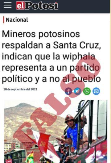 Circula captura de pantalla falsa atribuida a El Potosí