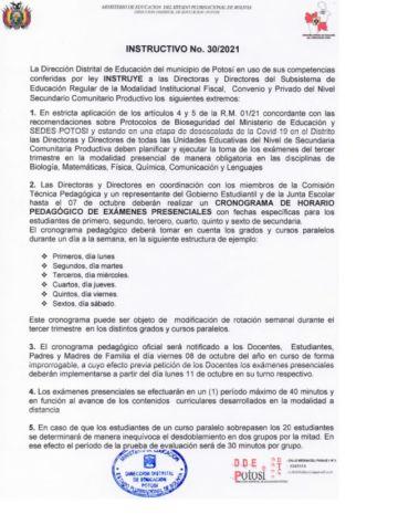 Instruyen que exámenes serán presenciales para secundaria en Potosí