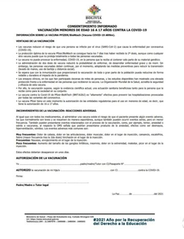 Este es el formulario de consentimiento informado para que padres autoricen vacuna a adolescentes de 16 y 17 años