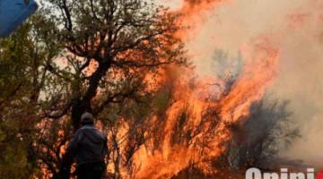 Reportan que la zona boscosa del Parque Nacional Tunari en Cochabamba es afectada por un incendio de gran magnitud