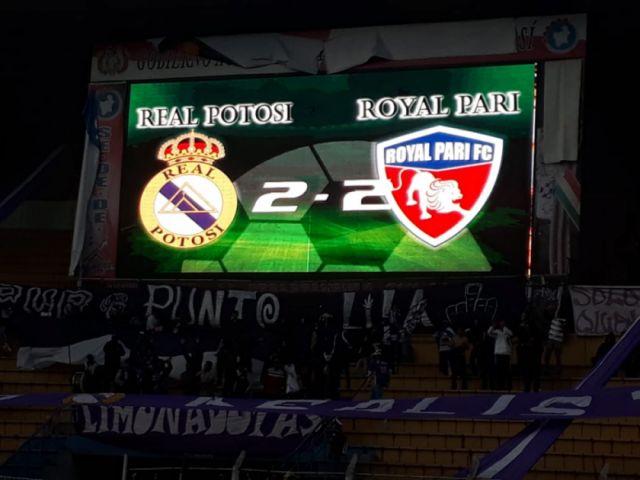 Real Potosí  y  Royal Pari terminan empatados a dos tantos