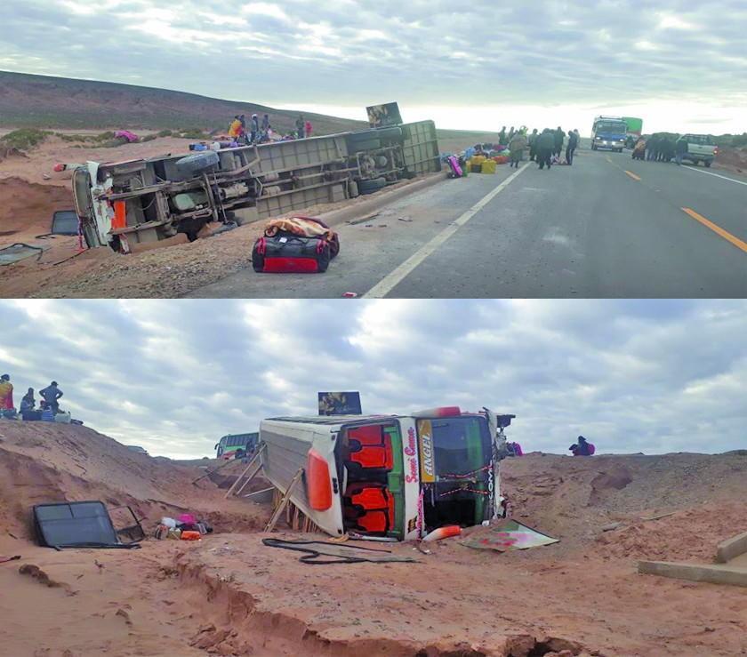Existen ocho personas  heridas tras el vuelco del bus Trans del Sur