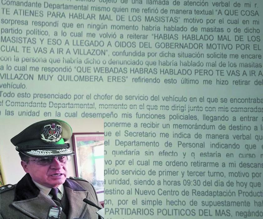 """Jefe policial cambia de destino a  policía por """"hablar mal del MAS"""""""