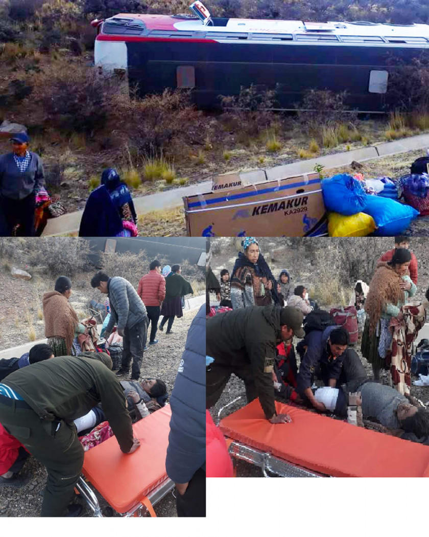 Otra flota de pasajeros  vuelca en la ruta hacia Villazón y hay heridos
