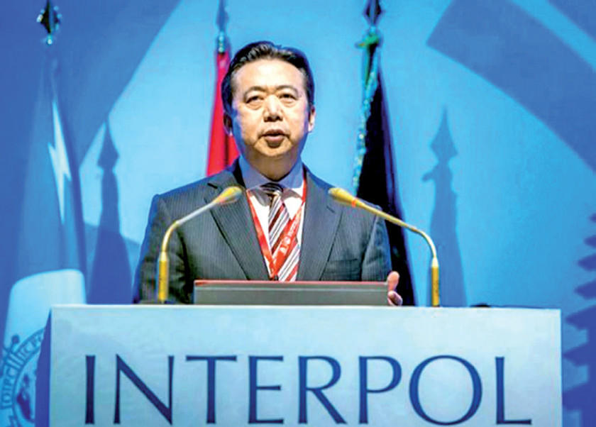 China achaca soborno al exjefe de Interpol detenido